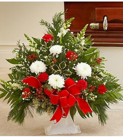 Sympathy Floor Basket in Christmas Colors