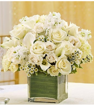 All White Centerpiece in a Cube Vase
