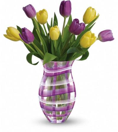 Teleflora's Lavender Plaid Tulip Bouquet