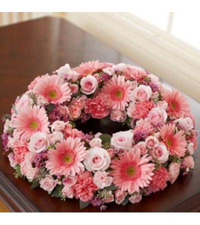 Pink Cremation Wreath