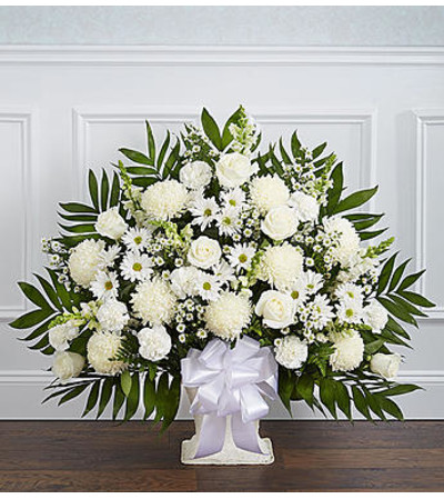Heartfelt Tribute White Floor Basket