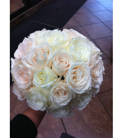 Pastel Pink and Ivory Rose Bouquet