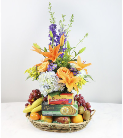Fresh Fruit with Flowers Basket