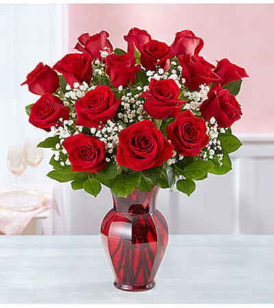blooming love red roses in red vase pasadena tx florist