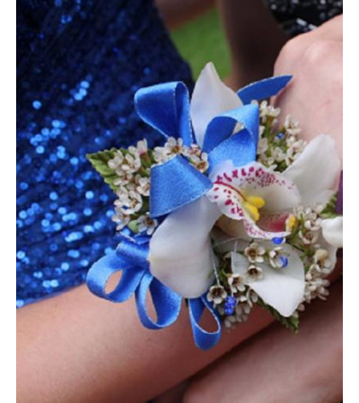 Beautiful in Blue - Orchid Corsage