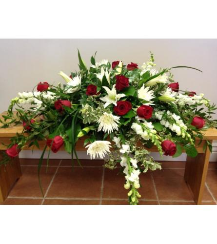 LOVING RED AND WHITE CASKET