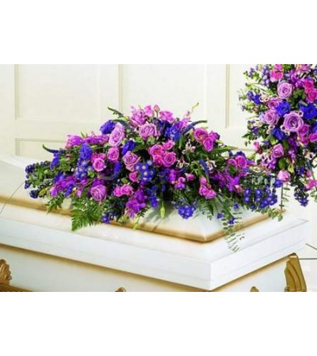 PURPLE AND LAVENDER CASKET COVER