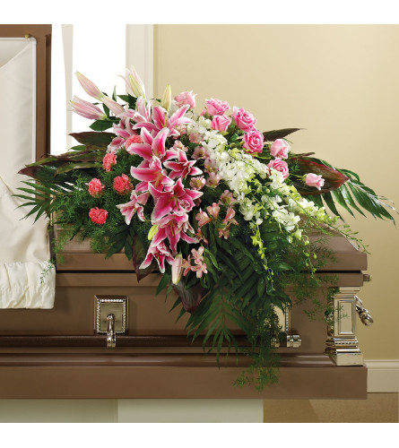 PINK LILIES AND PINK ROSES CASKET COVER