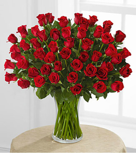 50 Red Roses in a Vase