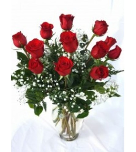 Radiant Dozen Red Rose Vase