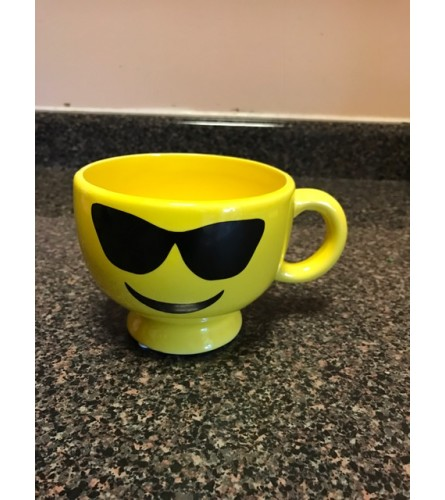 Happy Face Mug with designer choice flower arrangement