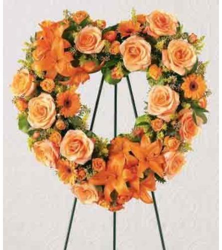 Orange Sunset Standing Heart Wreath