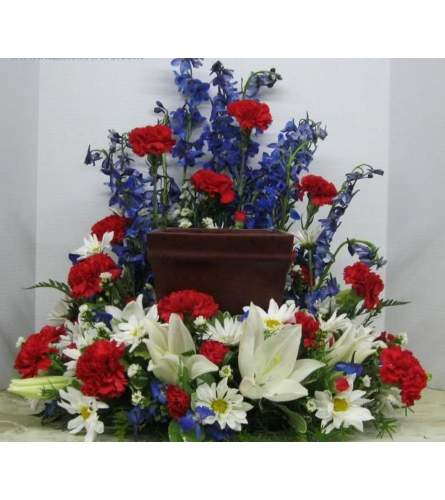 Patriotic Boxed Cremation Urn Wreath