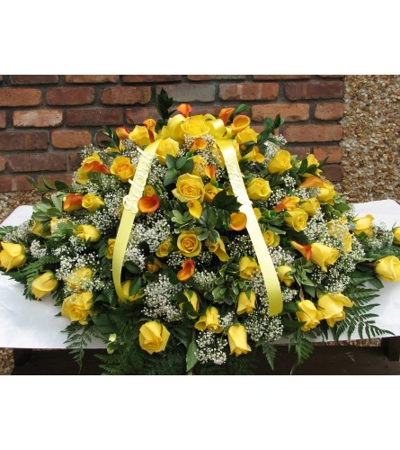 Yellow Rose Casket Cover  GF-CC2