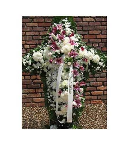 White with Pink & Lavender Sash  GF-CR2