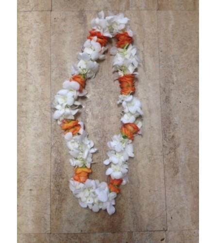 WHITE AND ORANGE LEI