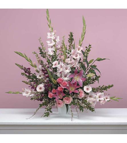 Traditional Pink Fan Arrangement
