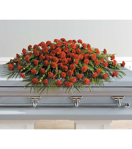 Full Couch Red Carnation Casket Spray