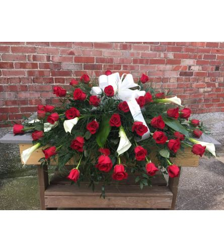 CASKET SPRAY - Red Roses & White Calla Lilies