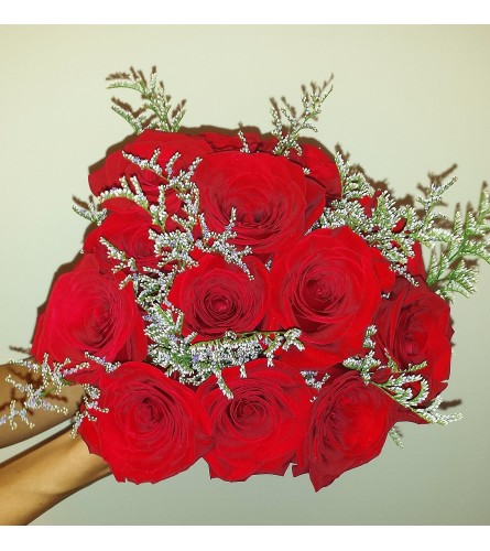 Rustic Red Rose Bridal Bouquet