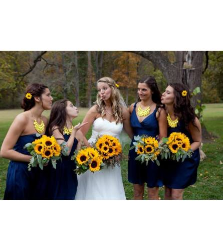 HANDTIED BOUQUET OF SUNFLOWERS AND FOLIAGE