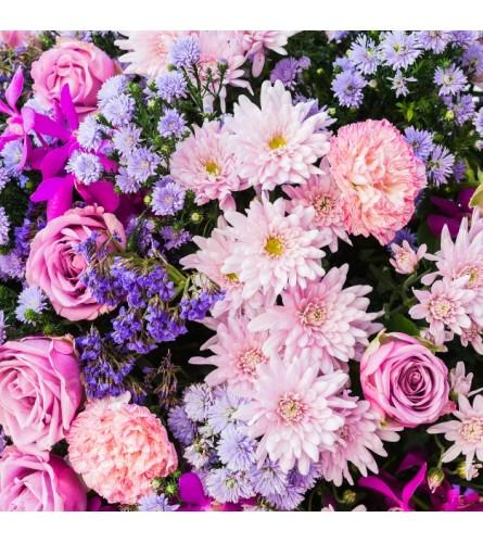 PINK & PURPLE FLOWERS ARRANGED