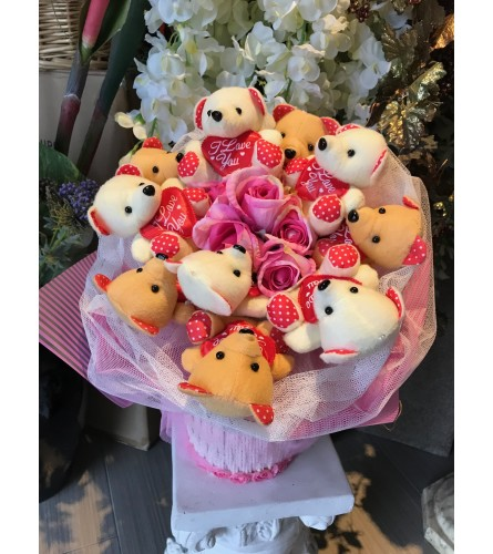 Supper Love You Teddy Bears Bouquet