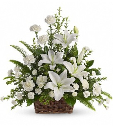 Peaceful White Lilies Basket - by Jennifer's Flowers