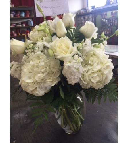 all white vase arrangement