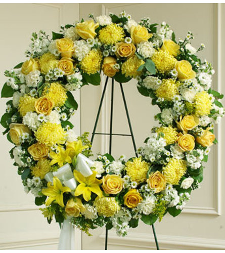 Yellow and White Open Wreath