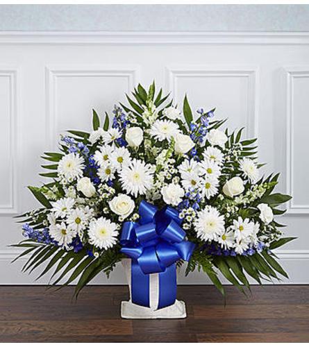 Heartfelt Tribute™ Floor Basket- Blue & White
