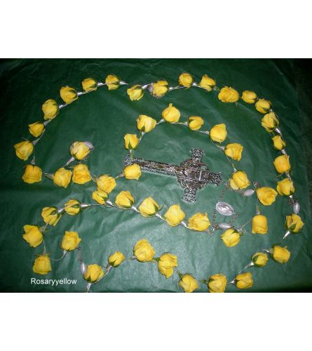 Yellow Rosary Real for Inside Casket