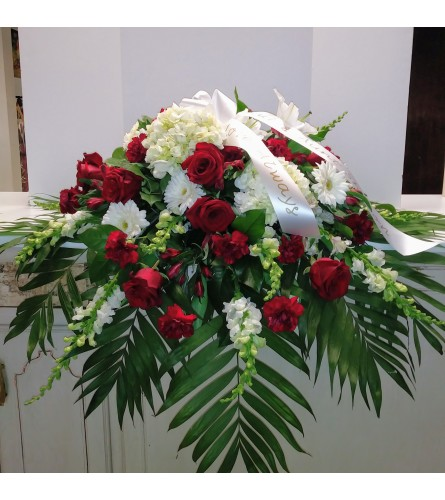 Remembered With Love Casket Spray