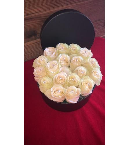 18 White Crystal Roses in Black Box