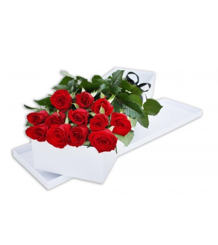 12 Long Stemmed Roses in a Box