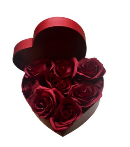 Fresh Red Roses in a Heart Box