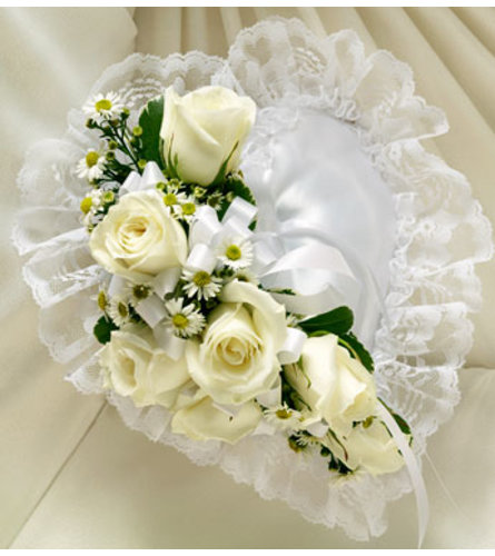 Heart Casket Pillow White Satin