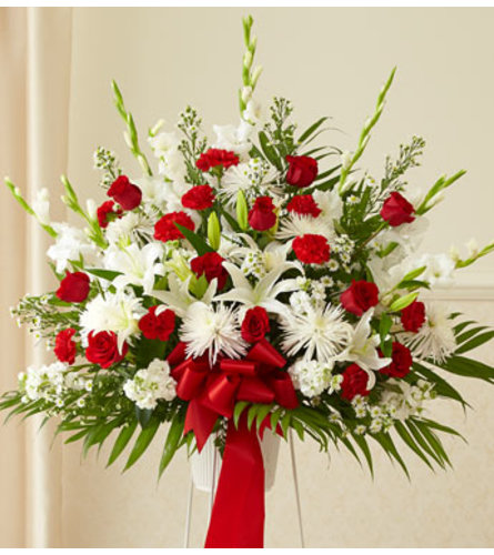 RED & WHITE STANDING BASKET