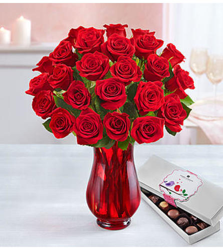 Two Dozen Red Roses With Chocolates