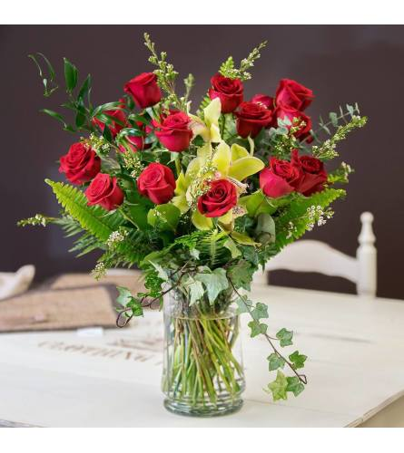 12 Red Roses and Cymbid Orchids