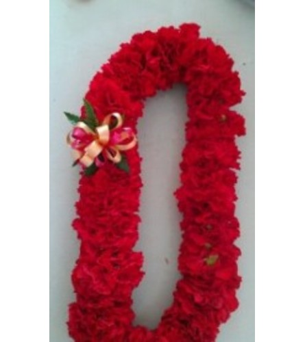 Double Red Carnation Lei
