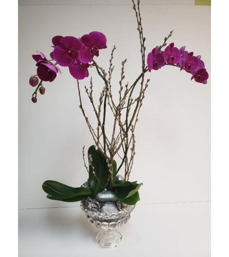 Purple Orchids and Branches Silver