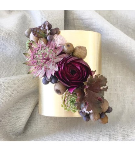 flowers on gold cuff