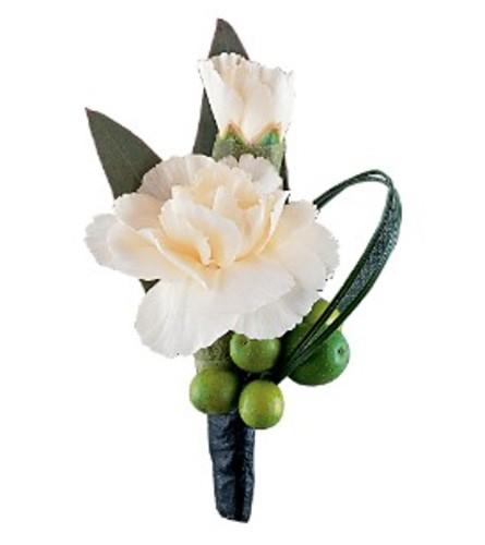 White Carnation & Foliage Boutonniere