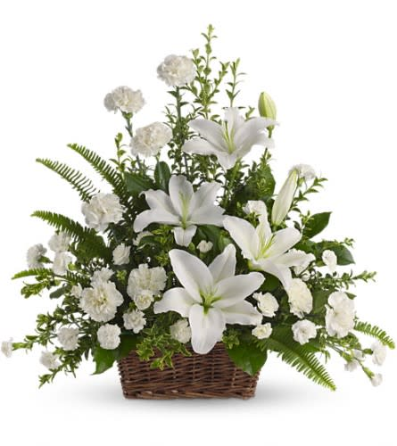 Teleflora - Peaceful White Lily Basket