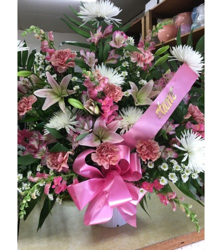 Shades of Pink Funeral Basket