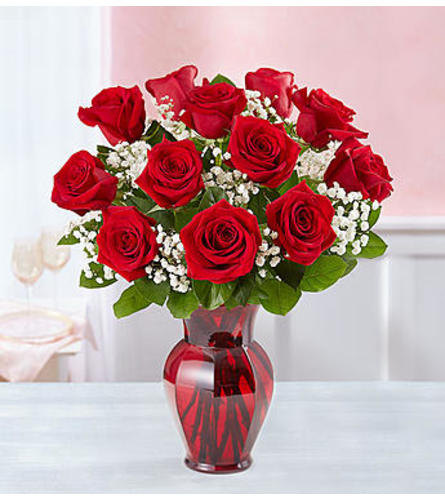 Red Roses One Dozen in Red Vase