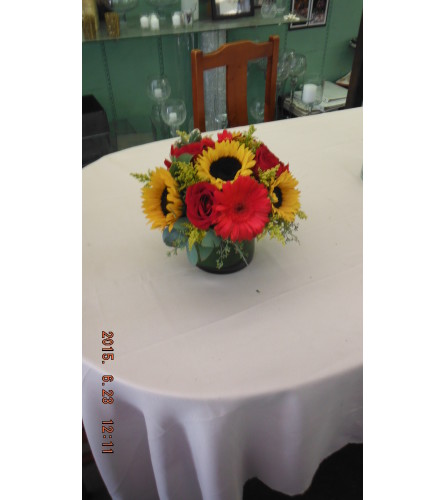sun flowers and red gerber daisies,  red roses and solidiego