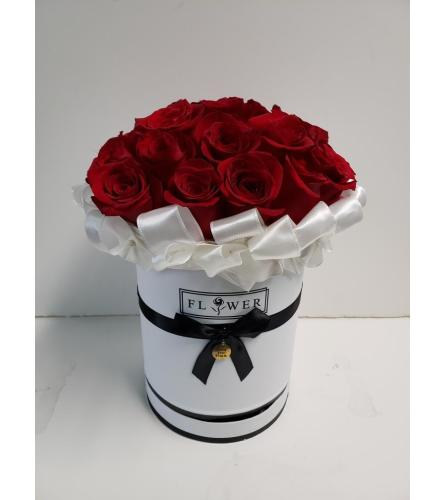 Red Roses in a White Couture Box