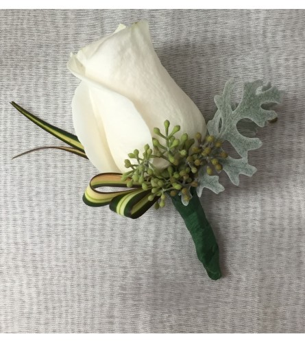 classy white rose boutonniere